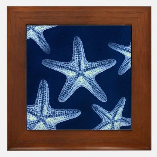beach blue starfish Framed Tile