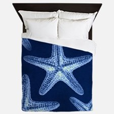 beach blue starfish Queen Duvet