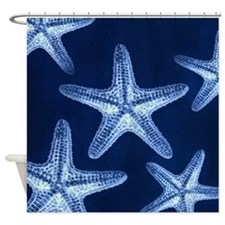 beach blue starfish Shower Curtain