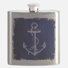 nautical navy blue anchor Flask