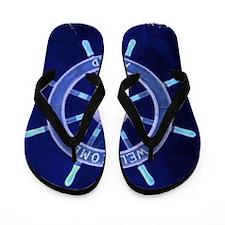 ship wheel nautical Flip Flops