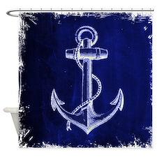 nautical navy blue anchor Shower Curtain