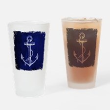 nautical navy blue anchor Drinking Glass