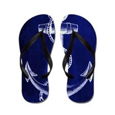 nautical navy blue anchor Flip Flops