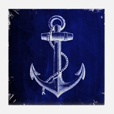 nautical navy blue anchor Tile Coaster