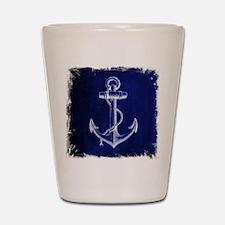 nautical navy blue anchor Shot Glass