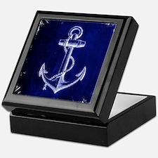 nautical navy blue anchor Keepsake Box