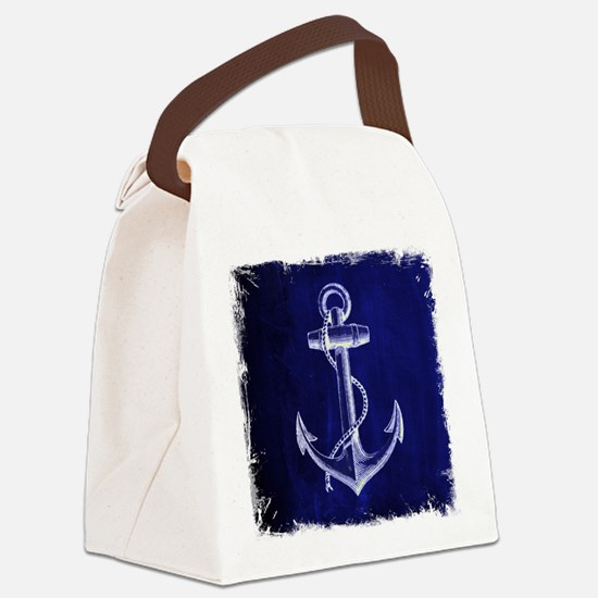 nautical navy blue anchor Canvas Lunch Bag