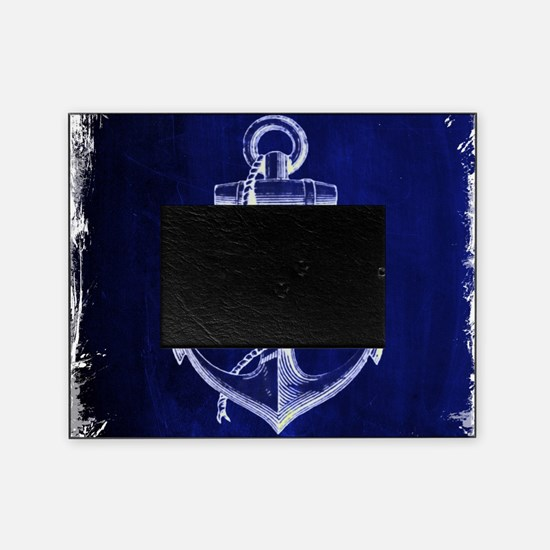 nautical navy blue anchor Picture Frame