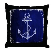 nautical navy blue anchor Throw Pillow