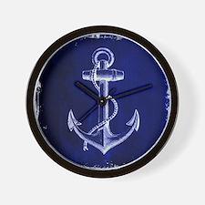 nautical navy blue anchor Wall Clock