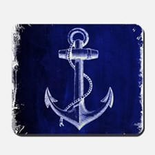 nautical navy blue anchor Mousepad