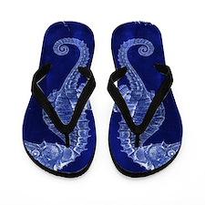 beach blue seahorse Flip Flops
