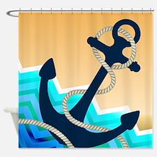 Nautical Blue Anchor Chevron Waves Shower Curtain