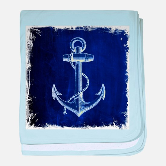 nautical navy blue anchor baby blanket