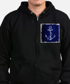 nautical navy blue anchor Zip Hoodie (dark)