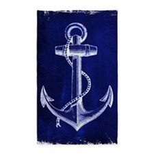 nautical navy blue anchor Area Rug
