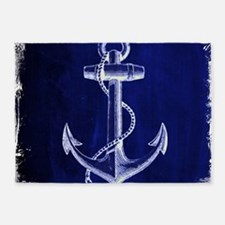 nautical navy blue anchor 5'x7'Area Rug