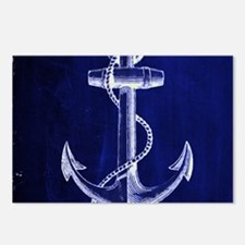 nautical navy blue anchor Postcards (Package of 8)
