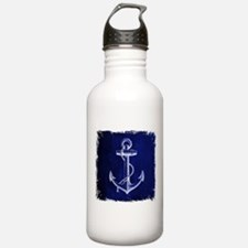 nautical navy blue anc Water Bottle