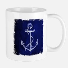 nautical navy blue anchor Mugs