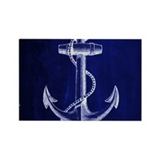 nautical navy blue anchor Magnets