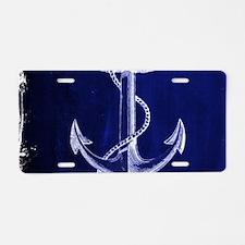 nautical navy blue anchor Aluminum License Plate