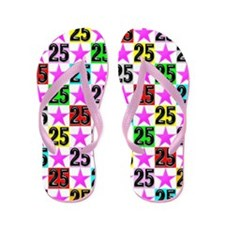 Pretty 25th Pink Star Flip Flops