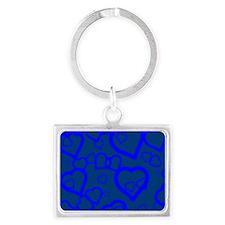 Blue Hearts  Landscape Keychain