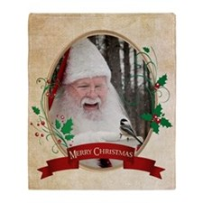Santa & Chickadee Throw Blanket