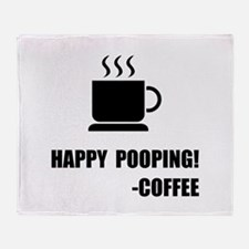 Happy Pooping Coffee Throw Blanket
