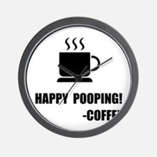 Happy Pooping Coffee Wall Clock