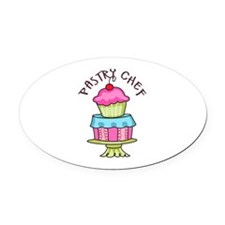 Pastry Chef Oval Car Magnet