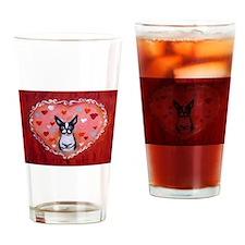 Boston Terrier Valentine Drinking Glass