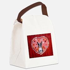 Boston Terrier Valentine Canvas Lunch Bag