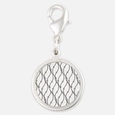Bloody Barbed Wire Silver Round Charm