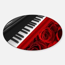Piano and Roses Sticker (Oval)