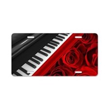 Piano and Roses Aluminum License Plate