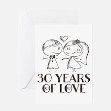 30th Anniversary chalk couple Greeting Card