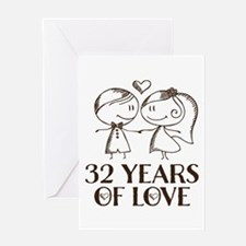 32nd Anniversary chalk couple Greeting Card