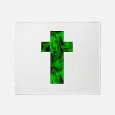 Green Irish Catholic Crucifix St. Pa Throw Blanket