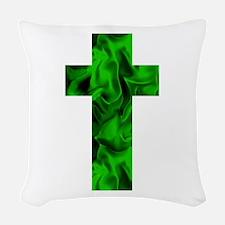 Green Irish Catholic Crucifix Woven Throw Pillow