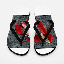 Rock Me Red Pom Poms Flip Flops