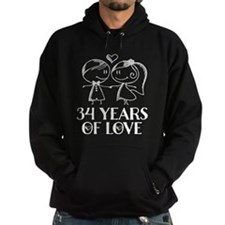 34th Anniversary chalk couple Hoodie