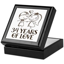 34th Anniversary chalk couple Keepsake Box
