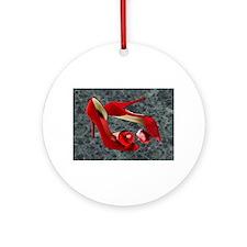 Rock Me Red Pom Poms Ornament (Round)