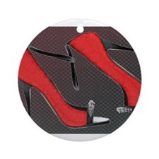 Raging Red Open Toed Stilettos Ornament (Round)