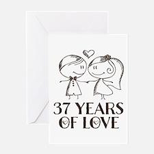 37th Anniversary chalk couple Greeting Card