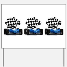 Blue Race Car with Checkered Flag Yard Sign