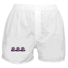Girly Pink Race Car with Checkered Fl Boxer Shorts